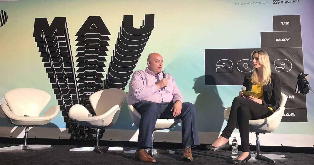 Daniel Lopez, Sr. Manager, User Acquisition at DraftKings and Irina Seals, Chief Revenue Officer at Scalarr on the stage at MAU Vegas 2019